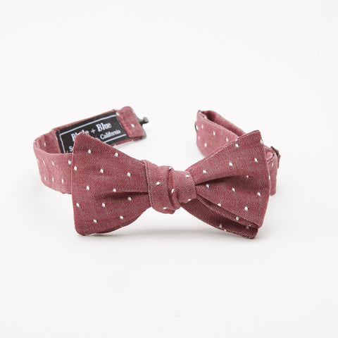 Burgundy Chambray with Dot Bow Tie
