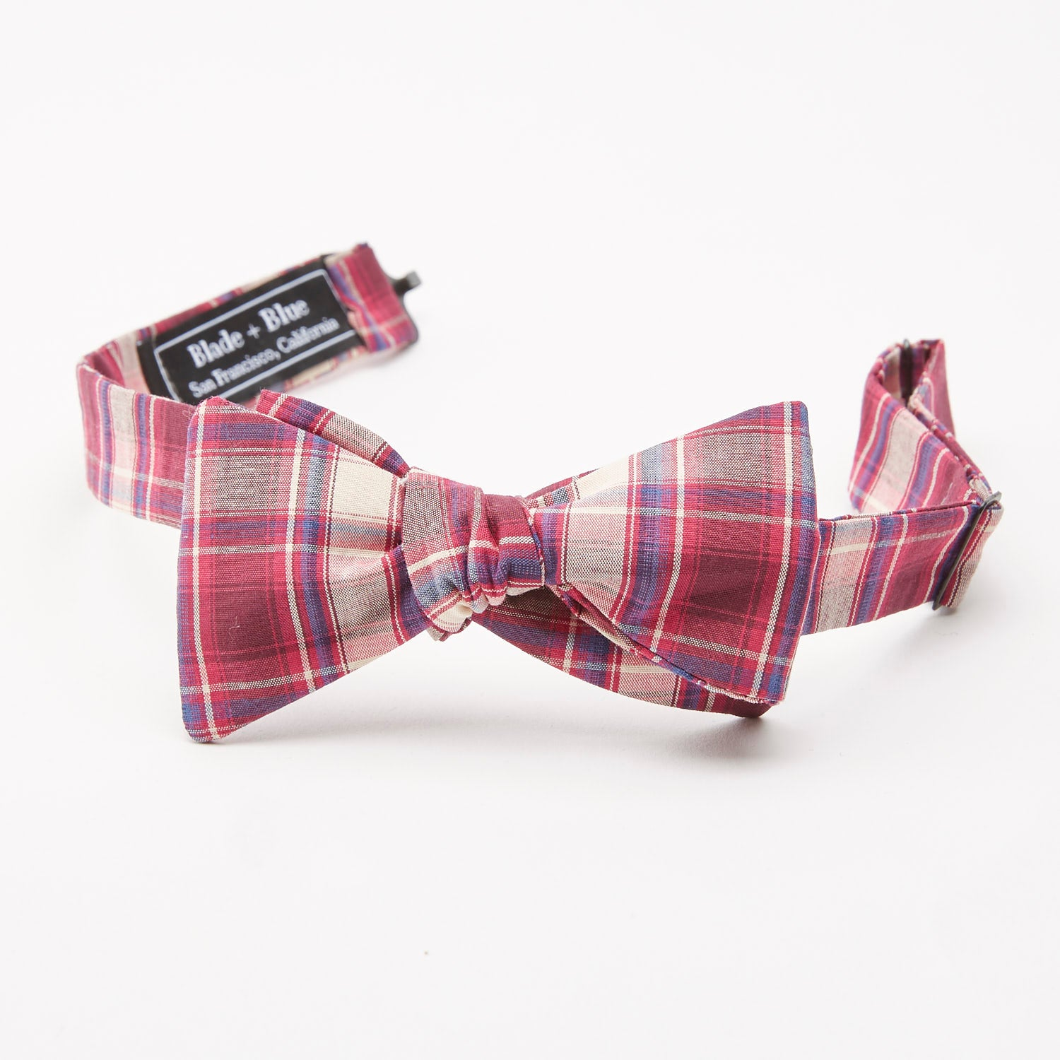Burgundy Plaid Cotton Bow Tie
