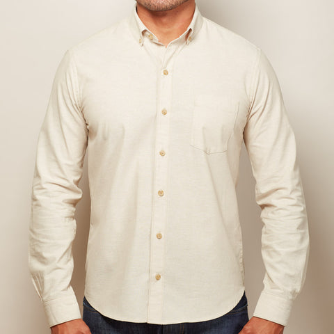 Solid Khaki Chambray Shirt - Kent