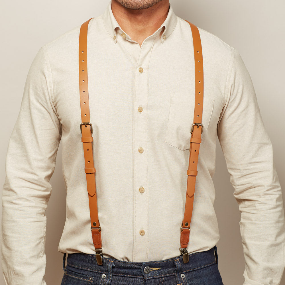 Natural Tan Leather Buckle Skinny Suspenders For Men