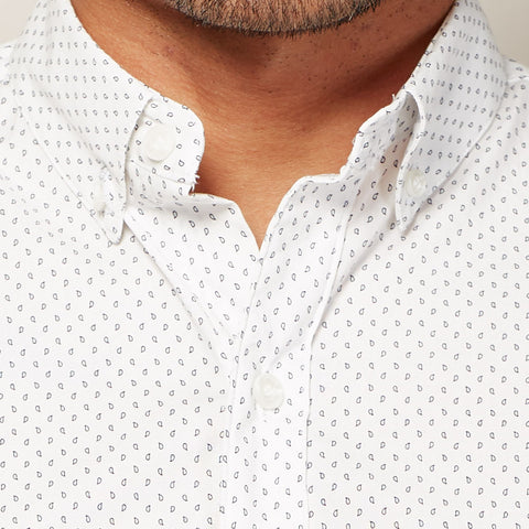 White & Navy Mini Paisley Print Short Sleeve Shirt - PARKER