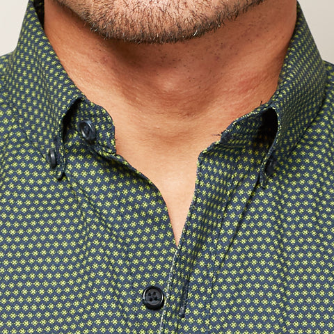 "Navy with Green ""X"" Print Short Sleeve Shirt - XANDER"