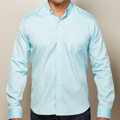 Solid Aqua Blue Oxford Shirt - Ozzie