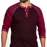 Burgundy & Cranberry Contrast 3/4 Raglan Sleeve Henley - One Piece Size XXL Available