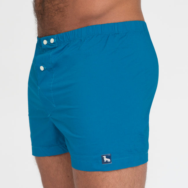 Solid Aqua Blue Boxer Short - Brooks