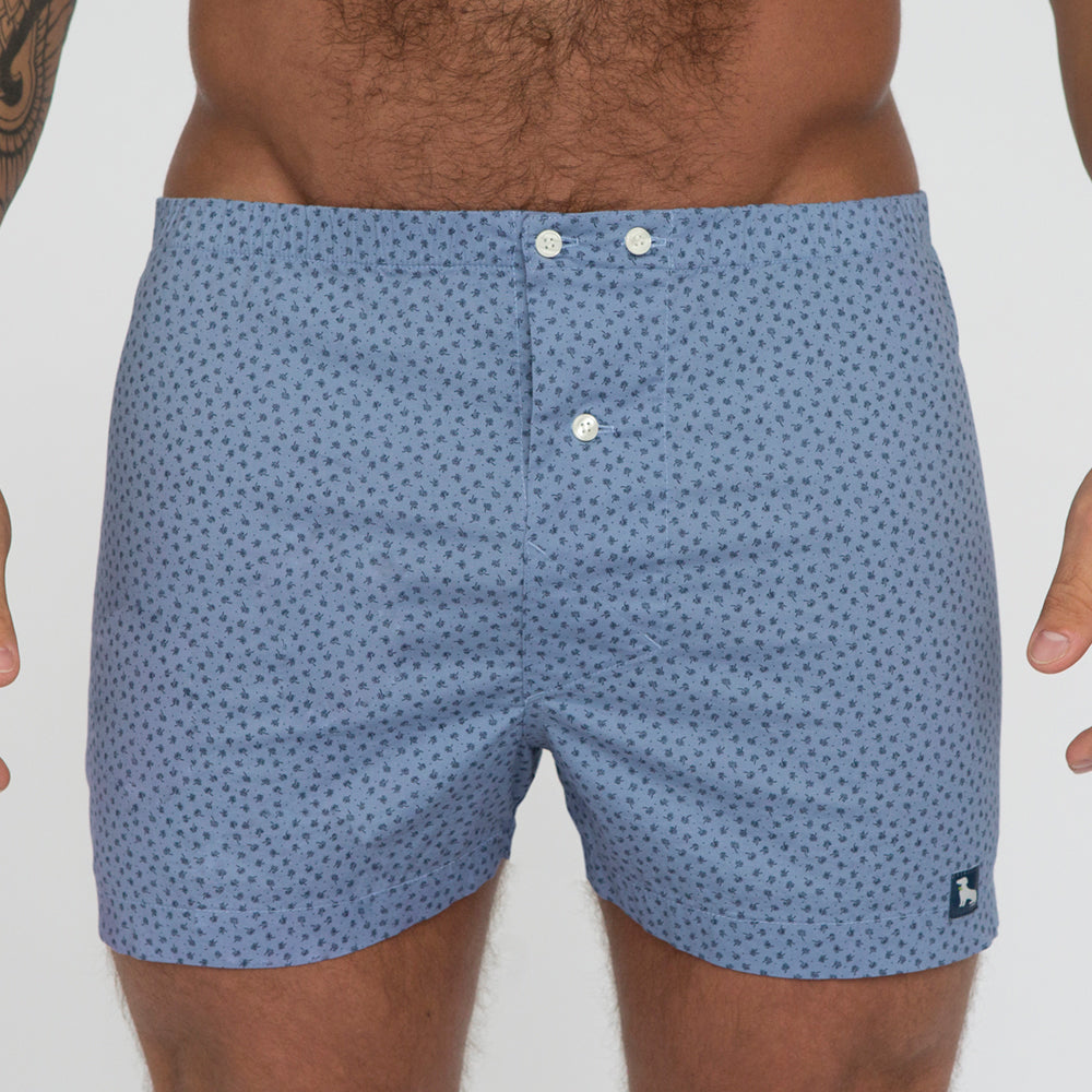 Light Blue Mini Tree Print Boxer - Penn