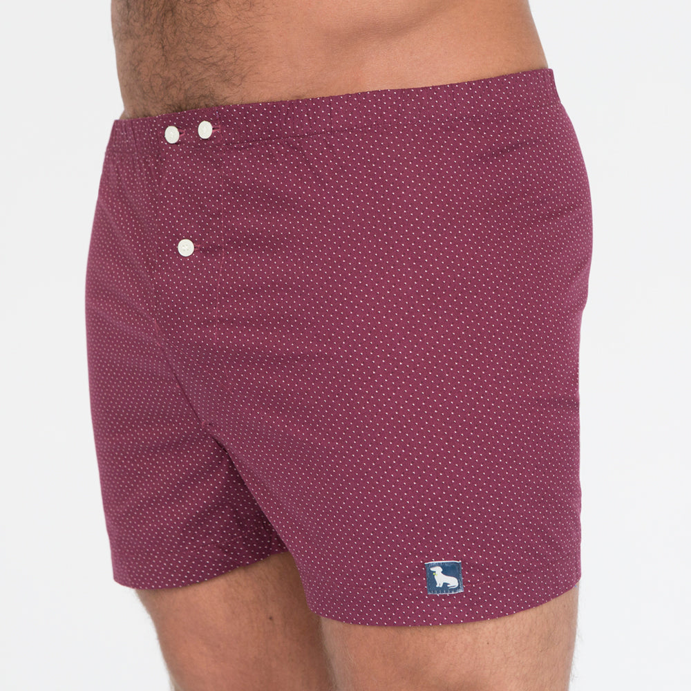Burgundy Geometric Dot Print Boxer - Roberto  Only Size M Available