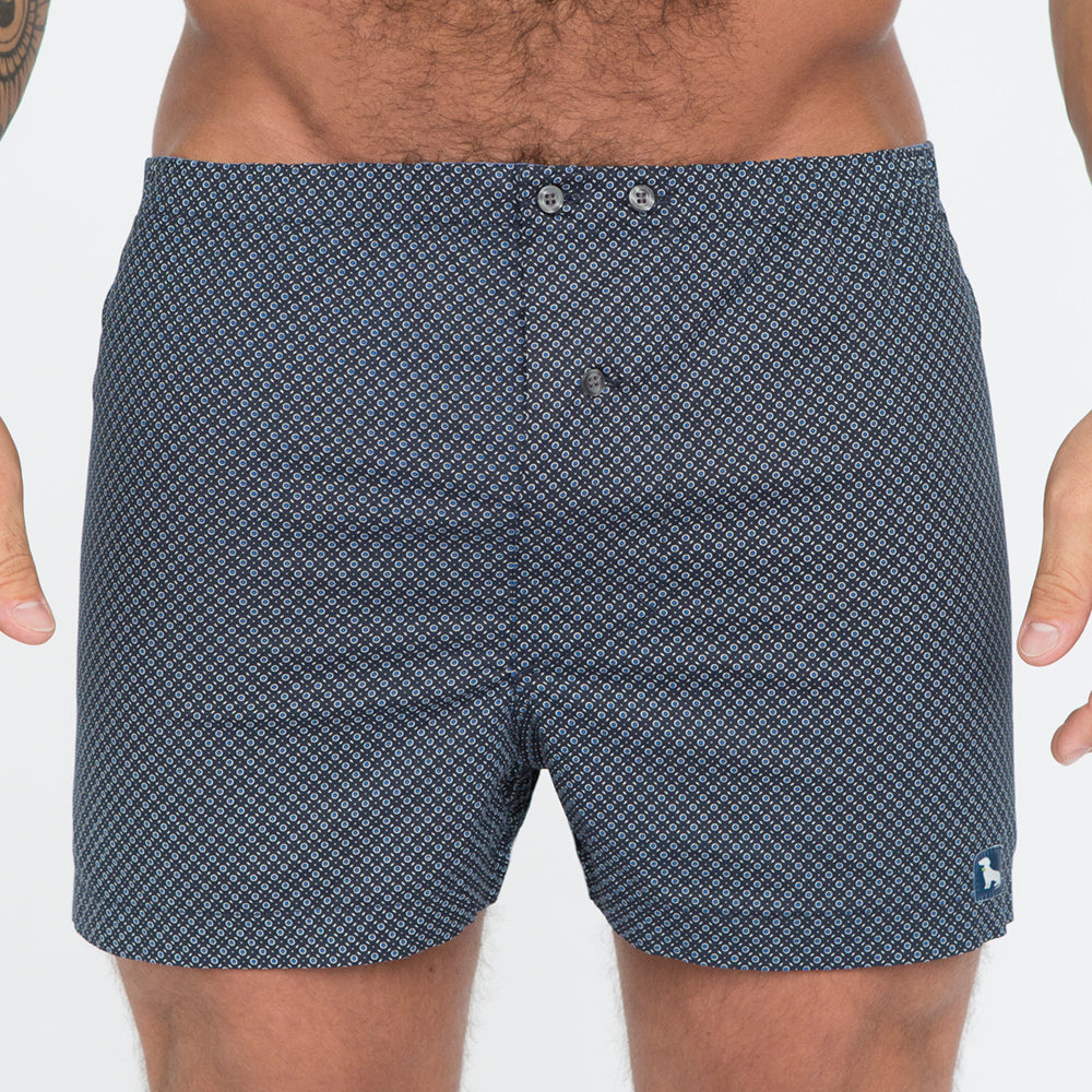 Black with Blue Circle Grid Print Boxer - Alvin