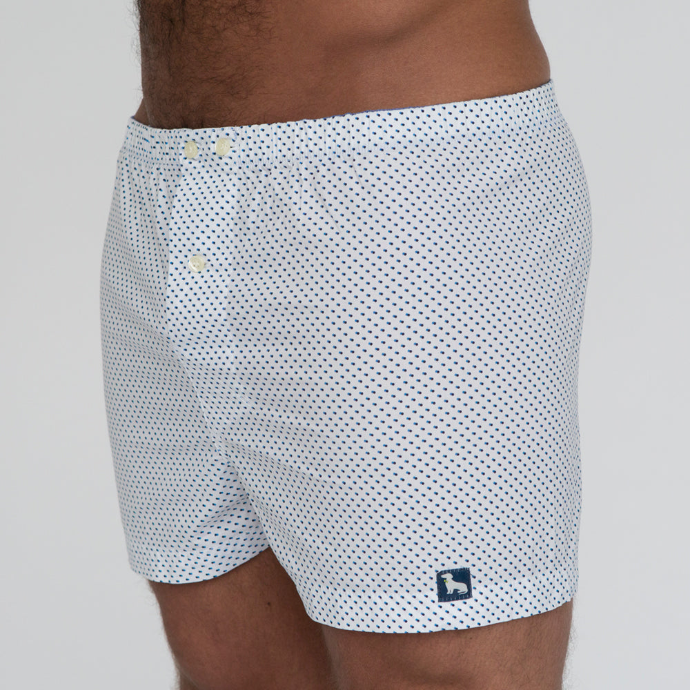 White with Blue Mini Geometric Dot Print Boxer - Reed