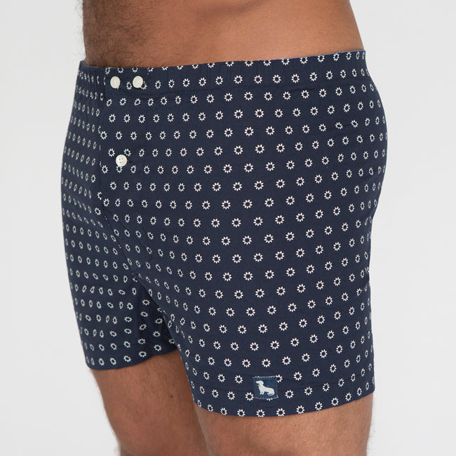 Navy with White Sunflower Print Boxer - Hunter