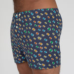 Navy Blue with LP Records Print Boxer - Davis