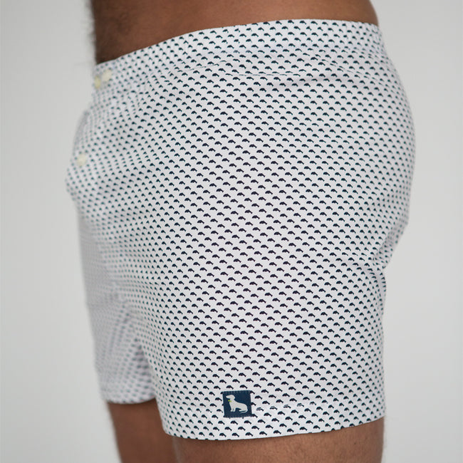 White with Black Whales Print Boxer Short - Wally