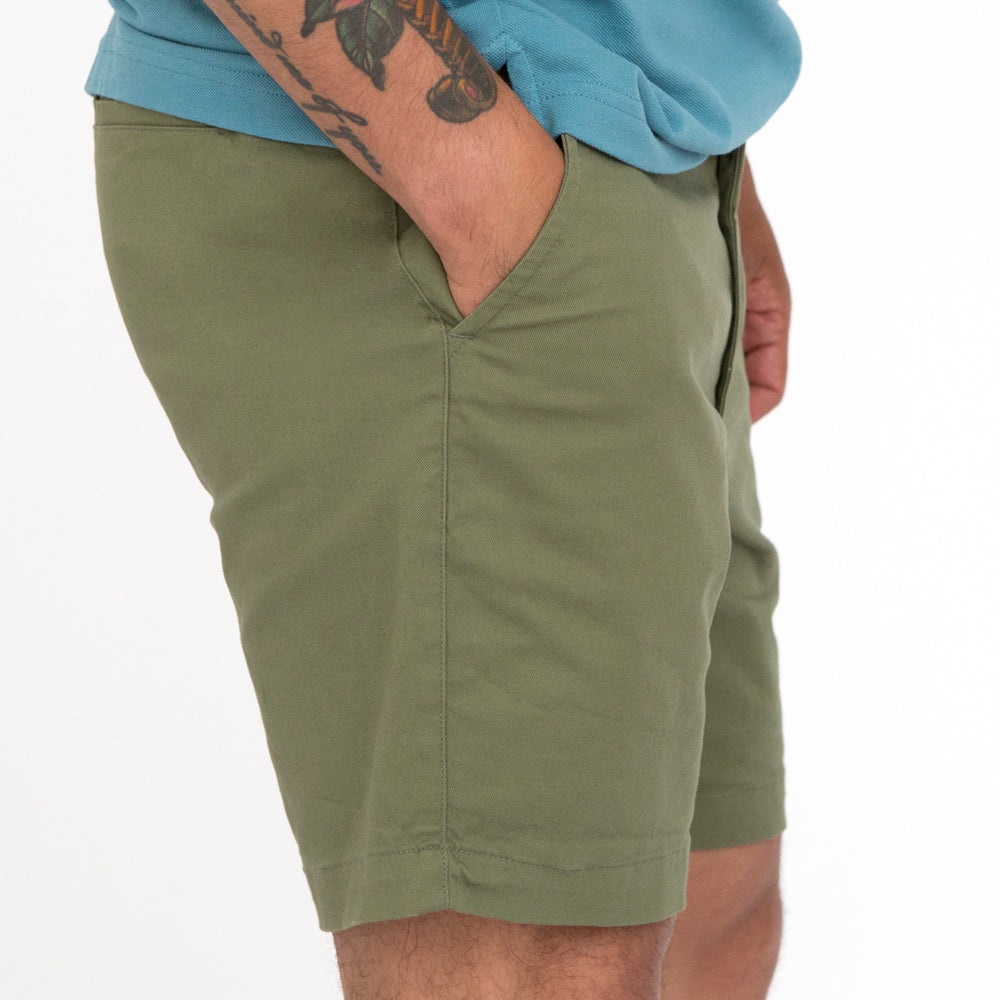 Olive Cotton Stretch Twill Shorts