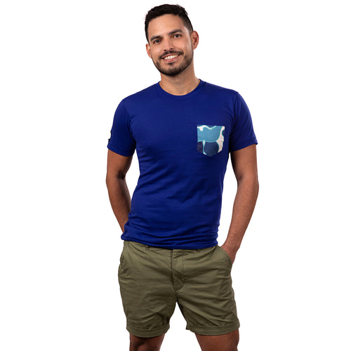 Royal Blue with Abstract Floral Print Pocket Tee