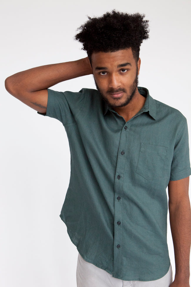 Solid Military Green Short Sleeve Shirt - Trooper
