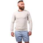 White Heather Salt & Pepper Raglan Sleeve Crewneck Sweatshirt - Made in USA