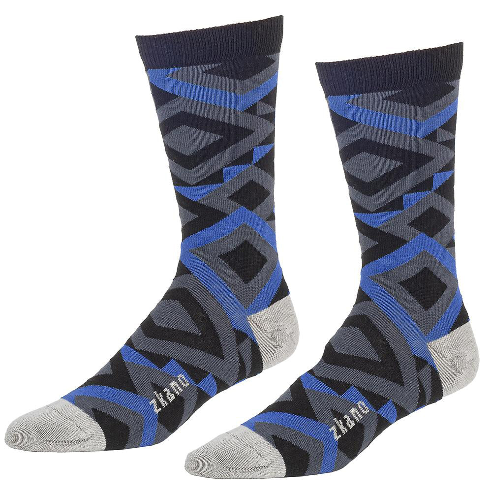 Blue, Black & Grey Diamond Pattern Socks