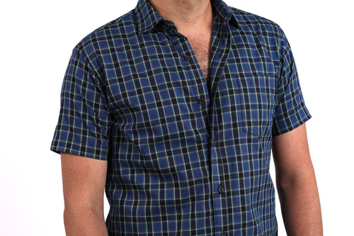 Tonal Blue Plaid Short Sleeve Shirt - Cooper One Piece Size S Available