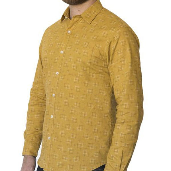 Golden Traditional Japanese 'Hashtag' Print Shirt - 'Lex'