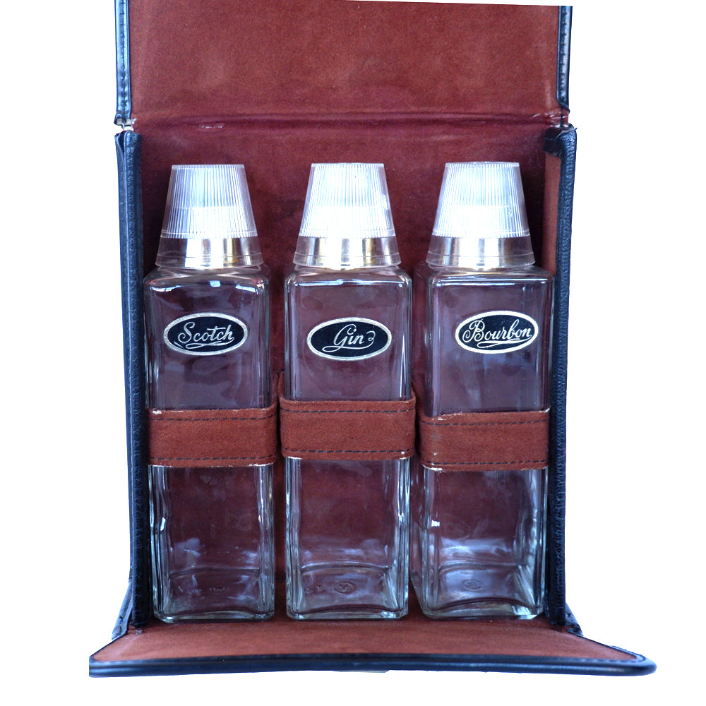 Vintage Scotch, Bourbon & Gin Travel Bar in Leather Case