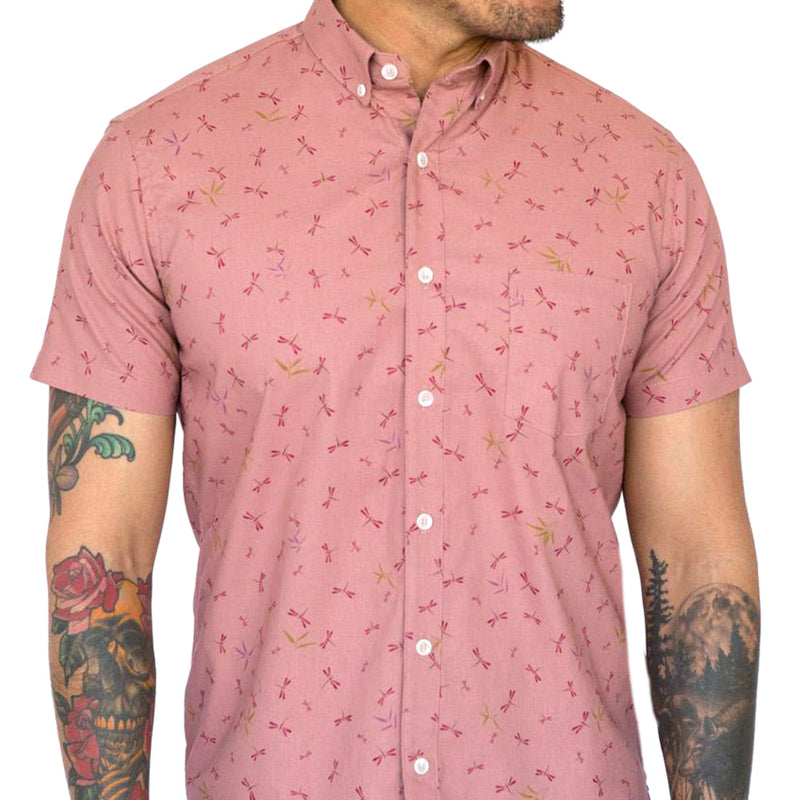 Just Found In The Warehouse! Pink Dragonfly Print Short Sleeve Shirt - Raymond