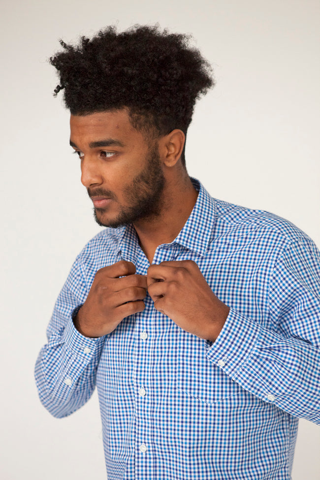 Blue & White Mini Check Shirt - Heath