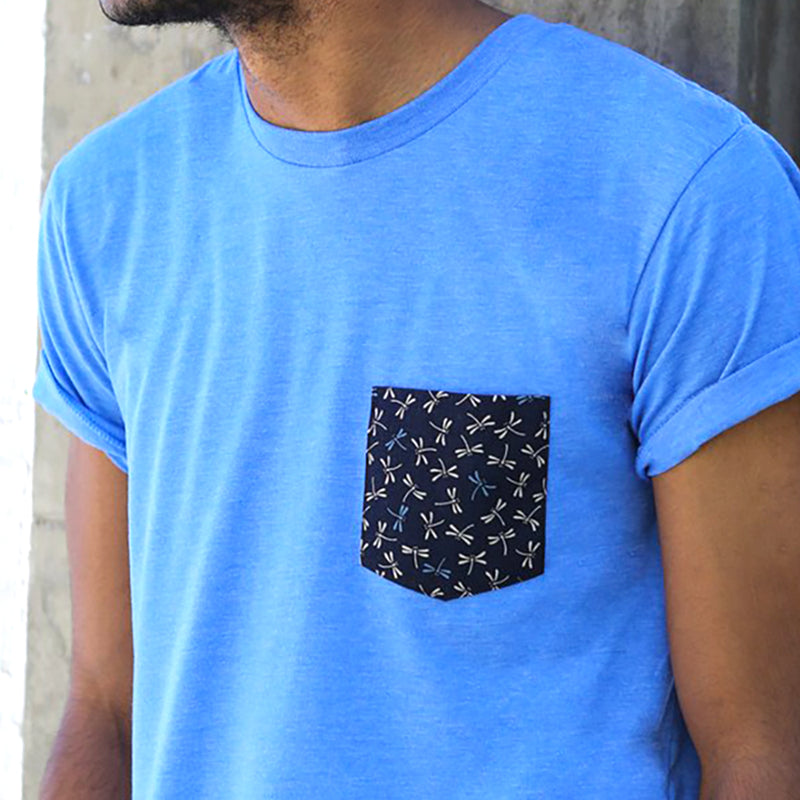 SALE THIS WEEKEND ONLY Light Blue with Dragonflies Print Pocket Tee
