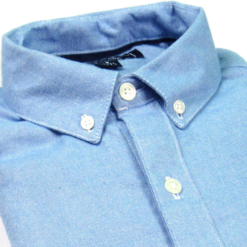 Light Blue Melange Brushed Cotton Shirt - 'Mickey'