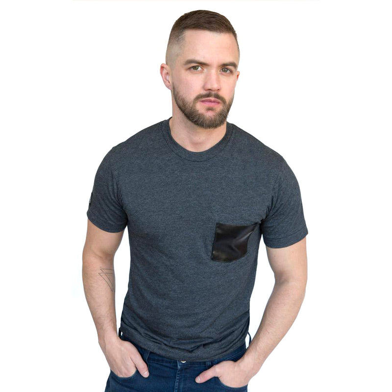 Grey Marl with 'Faux' Leather Pocket Tee - Sizes XL & XXL Available