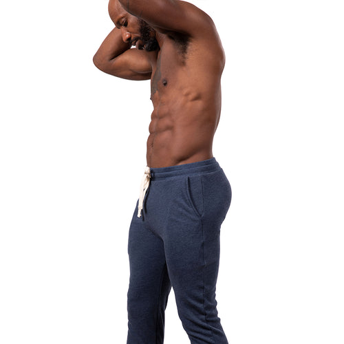 Blue Heather ECO-Friendly Organic Cotton / Recycled Poly Lightweight Jogger Sweatpants Made in USA