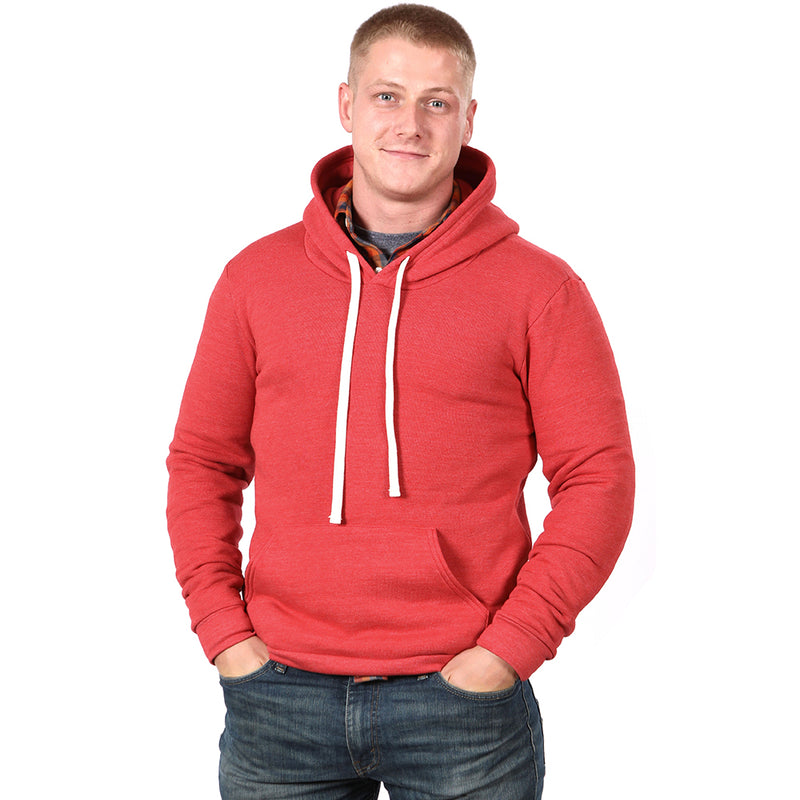 NEW COLOR! Red Heather Popover Hooded Fleece Sweatshirt - Made in USA