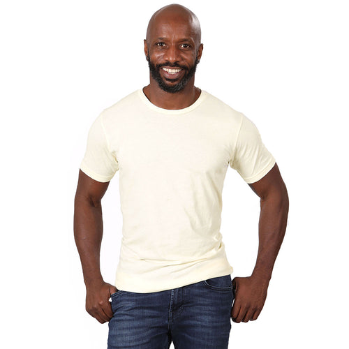 Eggshell Cream Garment Dyed Cotton Tee - Made in USA