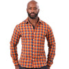 Orange & Blue Mini Check Brushed Cotton Shirt - 'Barron''