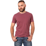 Washed Burgundy Garment Dyed Cotton Tee - Made in USA