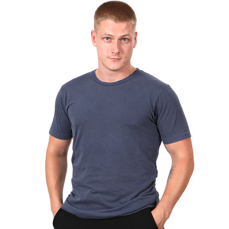 Faded Navy Blue Garment Dyed Cotton Tee - Made in USA