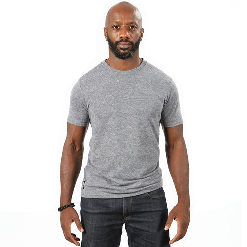 Grey Marled Tri-Blend Short Sleeve Solid Tee