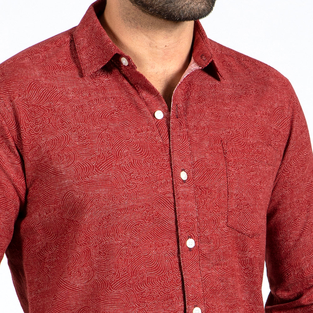 Tomato Red with Japanese Swirl Print Shirt