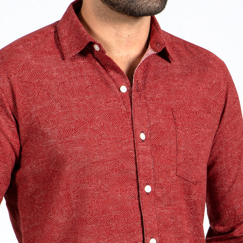 Burgundy Wine Cotton V-Neck Sweater