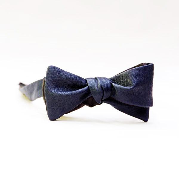 Navy Blue Leather Bow Tie