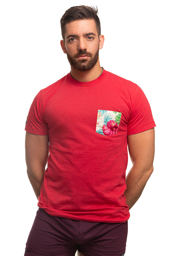 Red with Wild Floral Print Pocket Tee