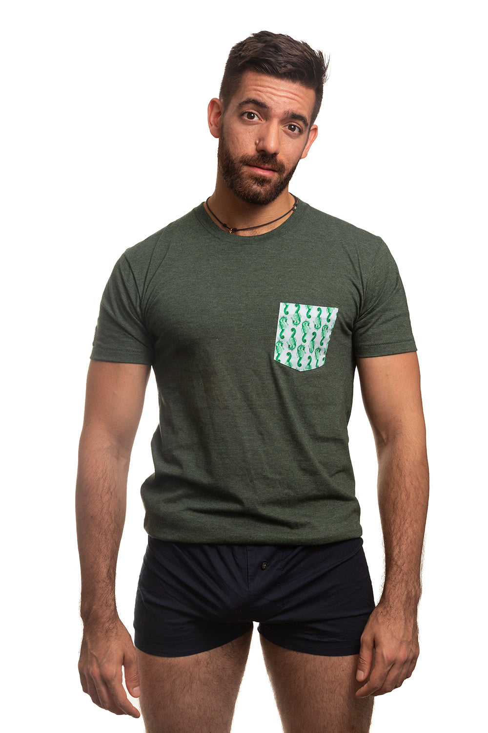 Green with Seahorse Print Pocket Tee Size XL Available