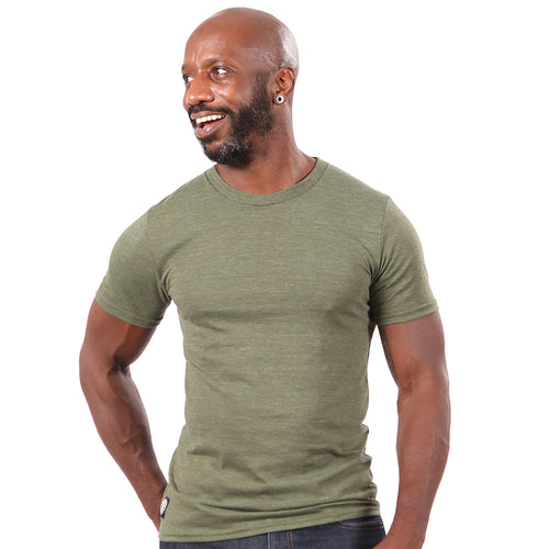 Olive Green Marled Tri-Blend Short Sleeve Solid Tee