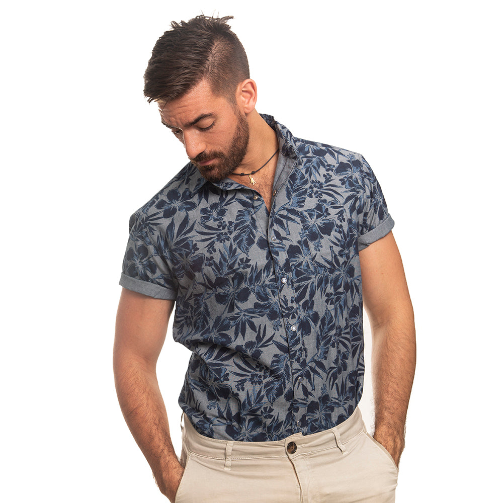 Blue Chambray Watercolor Floral Print Short Sleeve Shirt - Reece Sizes S & L Available