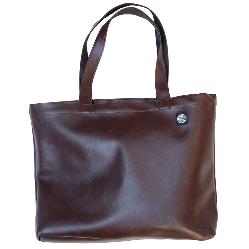 Burgundy 'Faux' Leather & Grey Denim Reversible Jumbo Tote Bag