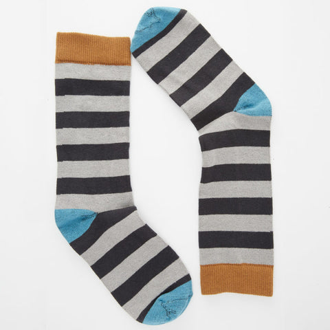 Tonal Grey with Aqua Rugby Stripe Socks