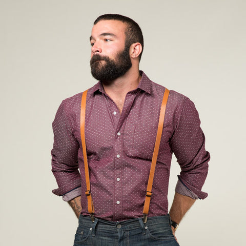 Natural Tan Leather Skinny Suspenders