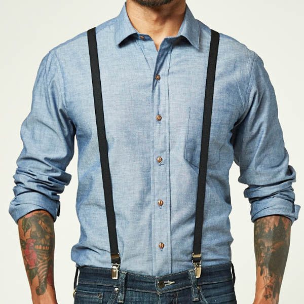 Black Elastic Skinny Suspenders For Men