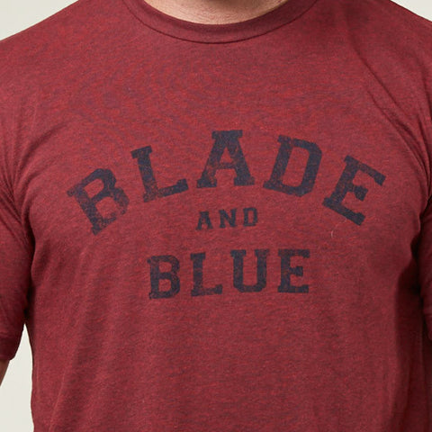 Burgundy Heather Blade + Blue Tee