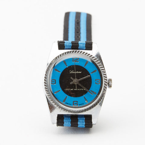 Vintage 1970's Lucerne Blue Watch with Striped Band