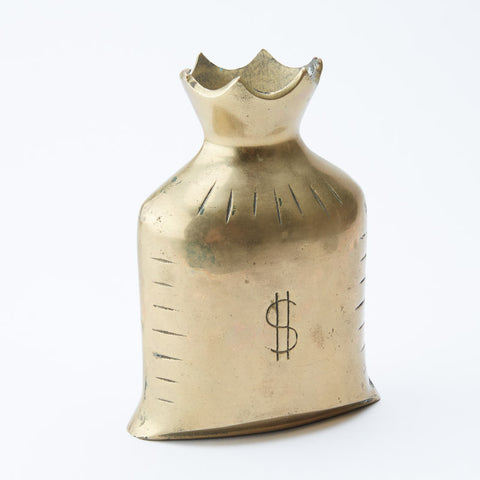 Vintage Brass Moneybag Coin Bank